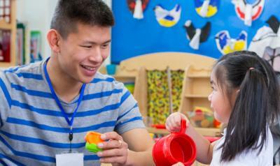 New preschool teacher with new student