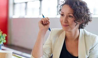 A teacher contemplates her study