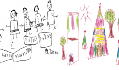 Children's drawing with color