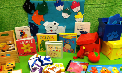 Children's books on display