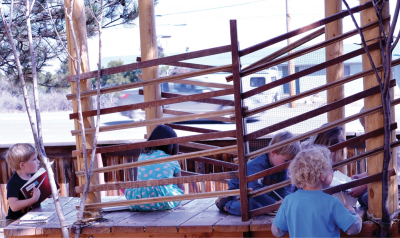 Five preschoolers designing a tree house