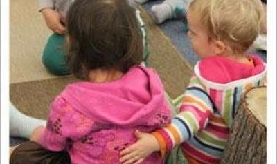 Toddlers hugging