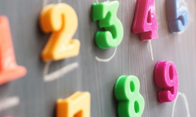 Colorful numbers hanging on a chalk board.
