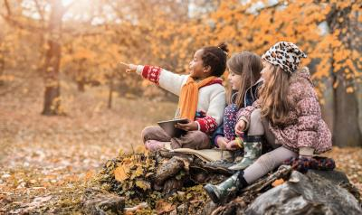 Three children sitting on a rock in the woods