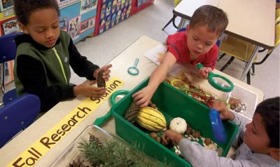 Children looking through fall supplies