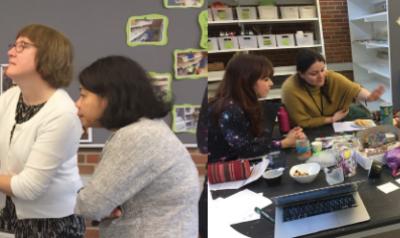 Early childhood educators gathering in the Kindergarten Creator Space