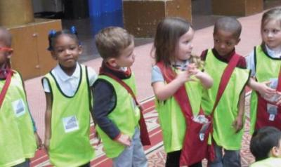 children engaged in a field trip activity
