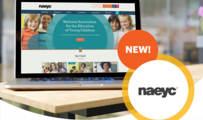 NAEYC's new website displaying on laptop screen