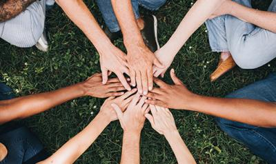 Hands together in a circle
