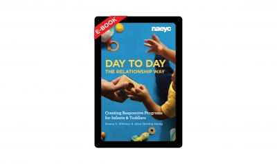 The cover image of Day to Day the Relationship Way featuring an adult and child hand and blocks