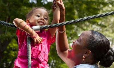 Mother and daughter on a playground