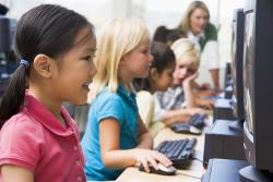 Children at a computer