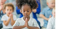 Young girl meditates
