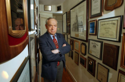 Ed Zigler outside his office at The Zigler Center 2005 – Diplomas (Wall of Fame)