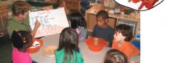 Students reading ingredients to make pumpkin pie