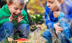 Two young boys playing outside and looking at plants