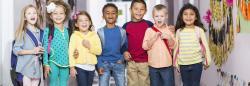 Diverse group of children in hallway