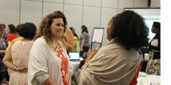A group of people at a conference