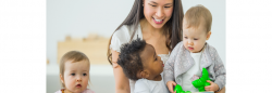 Family child care provider with three toddler