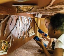 some children exploring a craft fort