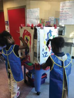 Two girls painting in classroom