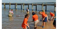 Children using nets to fish at the bay