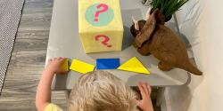 A child plays a shapes activity.