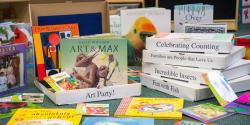 a display of assorted books on a table