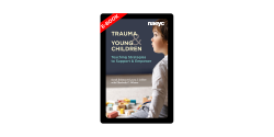 e-book cover of Trauma and Young Children featuring a young boy and blocks