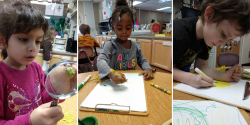 a collage of images of children drawing