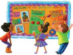 Illustration of three children looking at a Welcome bulletin board.