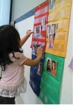 A child uses the mood meter to share her current feelings.