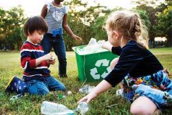 Children sorting recycling