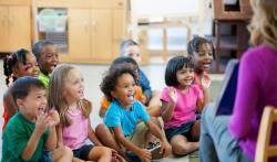 Young children enjoying a read aloud