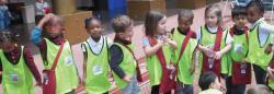Nine children on a field trip
