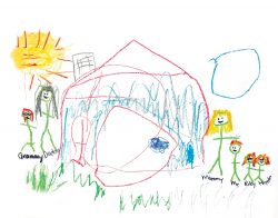 Child's illustration of a family