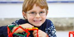 Boy building a structure