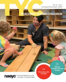 Cover of the October/November issue of TYC featuring teaching in a classroom with two children.